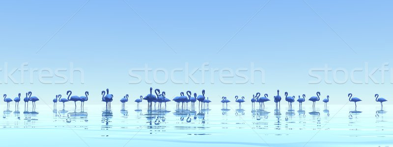 Flock of flamingos - 3D render Stock photo © Elenarts