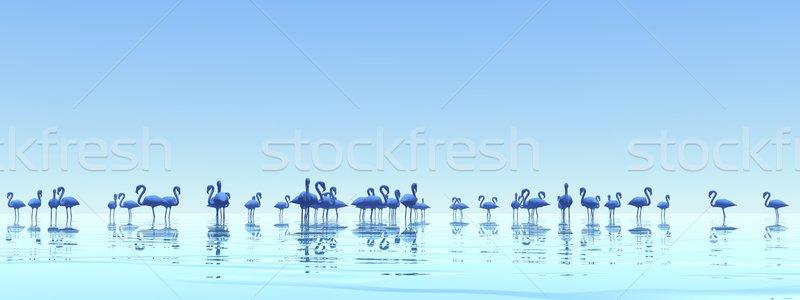 3d render em pé água nebuloso pôr do sol Foto stock © Elenarts
