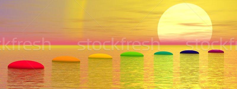 Stockfoto: Chakra · stappen · zon · 3d · render · zeven · kleuren