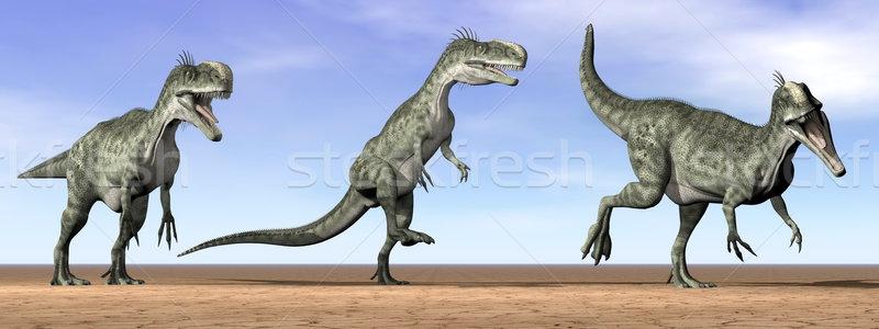 Foto stock: Dinossauros · deserto · 3d · render · três · em · pé · céu