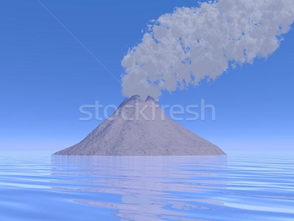 Uitbarsting 3d render grijs rook vulkaan eiland Stockfoto © Elenarts