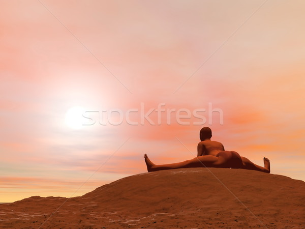 Seated wide angle pose, Upavista Konasana - 3D render Stock photo © Elenarts