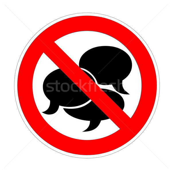 Stock fotó: Megbeszélés · tilos · chat · buborékok · piros · figyelmeztető · jel