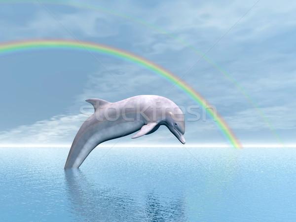 Wolności Delfin 3d skoki ocean tęczy Zdjęcia stock © Elenarts