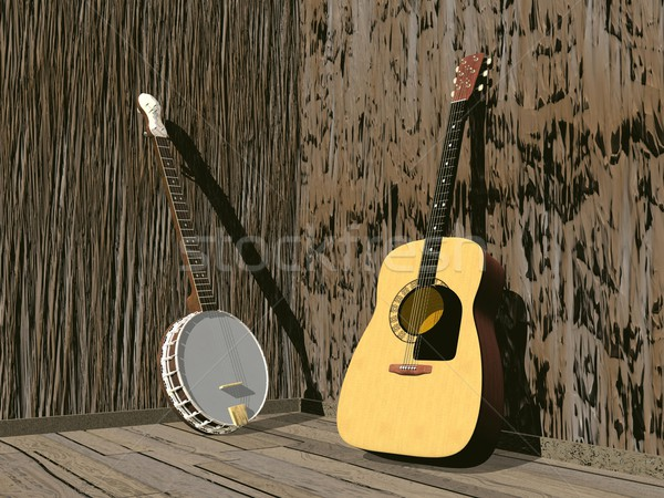 Banjo and guitar- 3D render Stock photo © Elenarts