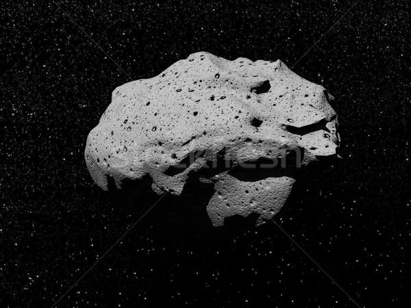 Asteroid - 3D render Stock photo © Elenarts