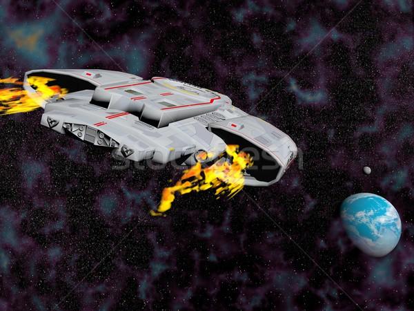Statek kosmiczny pływające ziemi 3d widok z tyłu ognia Zdjęcia stock © Elenarts