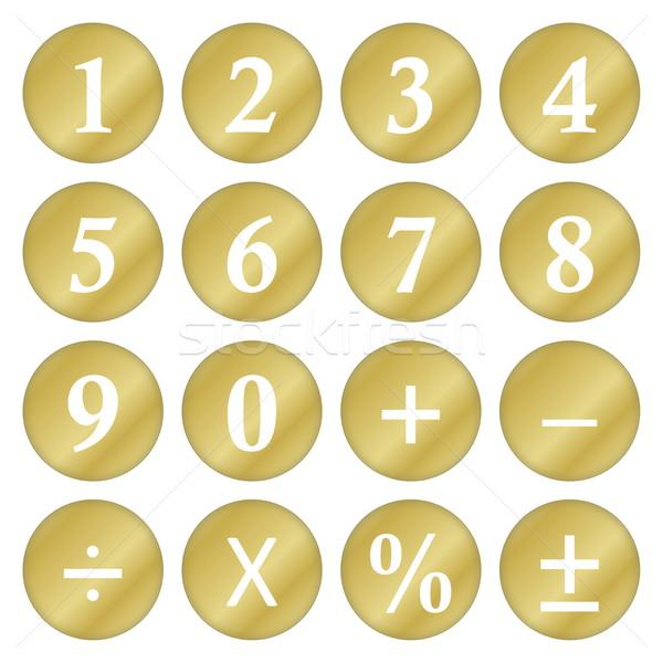 Wiskundig symbolen gouden nummers geïsoleerd witte Stockfoto © Elenarts