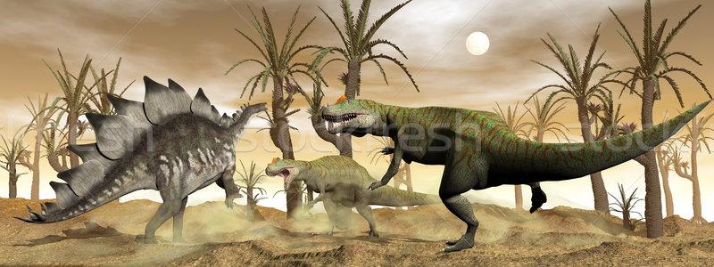 Allosaurus and stegosaurus dinosaurs fight - 3D render Stock photo © Elenarts