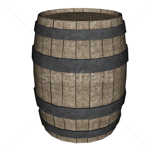Madeira barril 3d render isolado branco fundo Foto stock © Elenarts