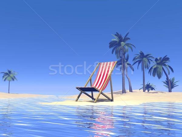 Paraíso silla espera 3d arena océano Foto stock © Elenarts