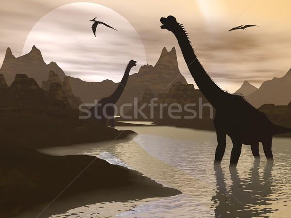 Brachiosaurus dinosaurs in water - 3D render Stock photo © Elenarts