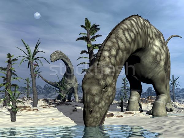 Argentinosaurus dinosaur drinking - 3D render Stock photo © Elenarts