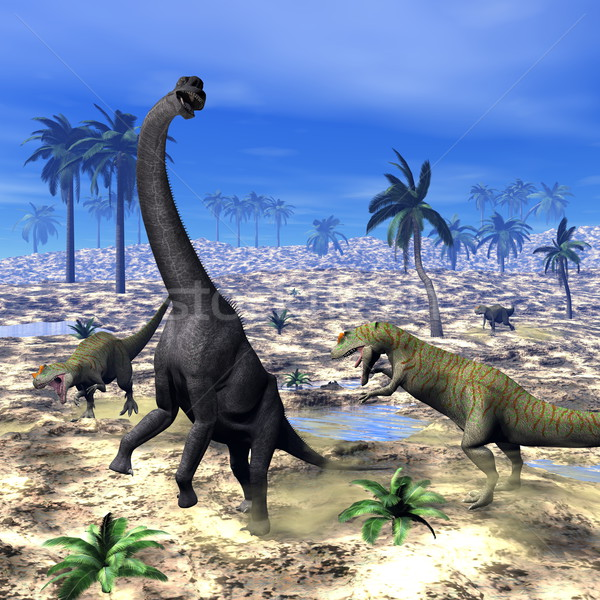 Allosaurus attacking brachiosaurus dinosaur - 3D render Stock photo © Elenarts