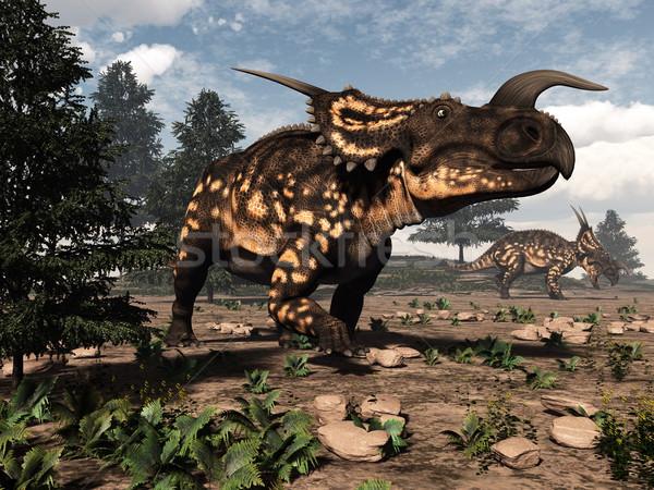Einiosaurus dinosaurs in the desert - 3D render Stock photo © Elenarts