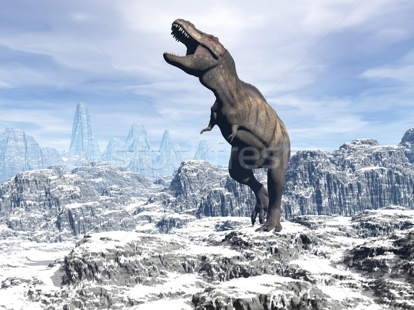 Tyrannosaurus in the snow - 3D render Stock photo © Elenarts