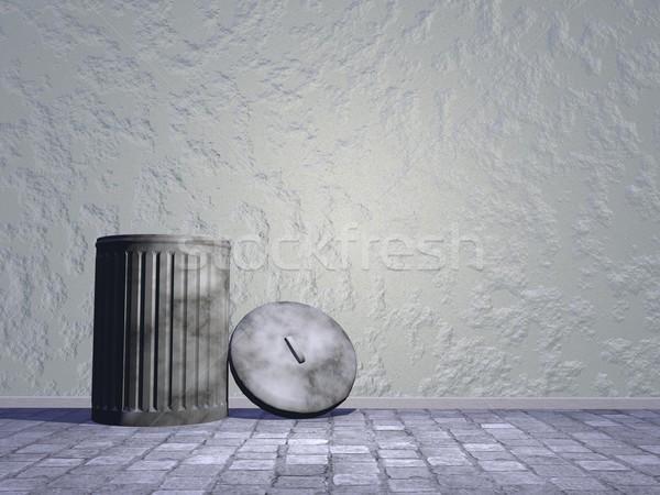 Old bin in the street - 3D render Stock photo © Elenarts