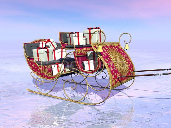 クリスマス サンタクロース そり フル 贈り物 3dのレンダリング ストックフォト © Elenarts