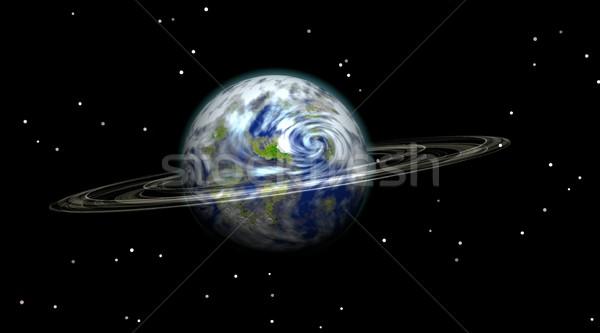 Terra pianeta terra halo notte cielo Foto d'archivio © Elenarts