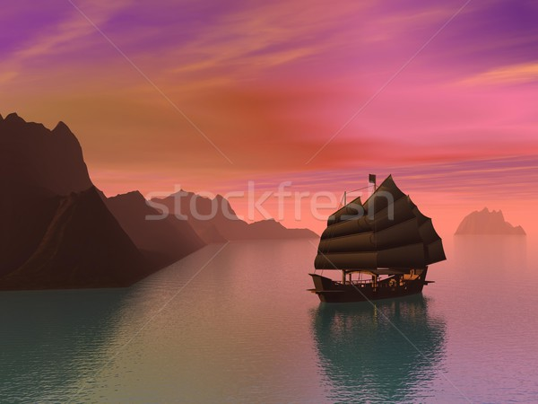 Oriental junk boat - 3D render Stock photo © Elenarts
