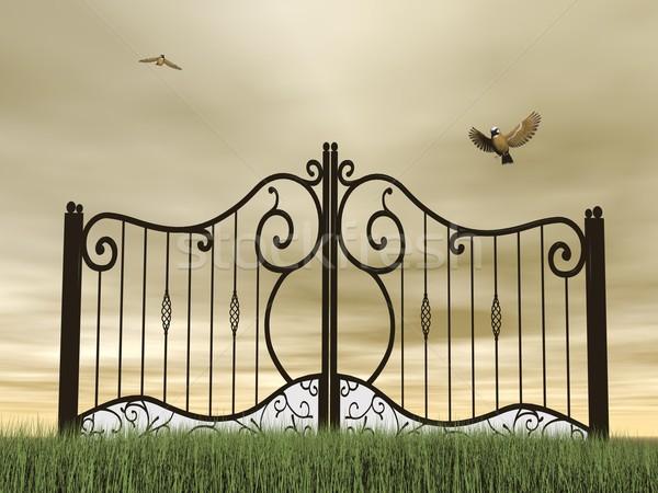 Closed gate in nature - 3D render Stock photo © Elenarts