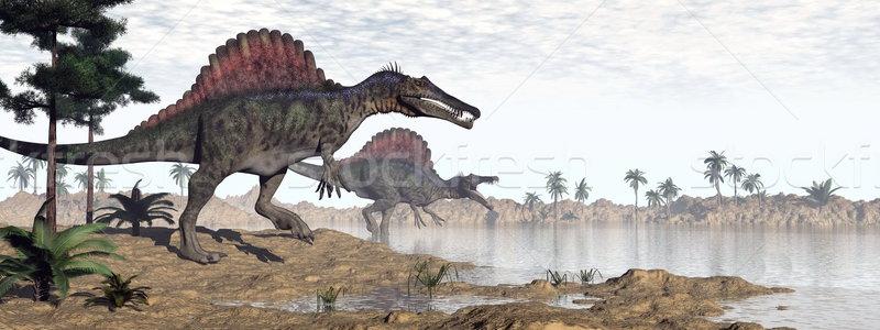 Spinosaurus dinosaurs in desert - 3D render Stock photo © Elenarts
