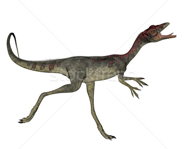 Dinozor çalışma 3d render beyaz yeşil dijital Stok fotoğraf © Elenarts