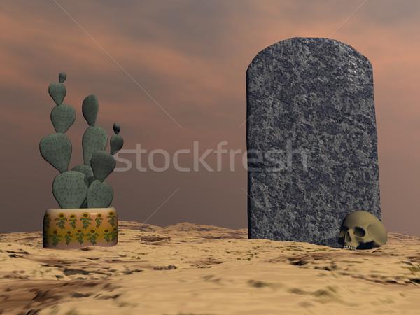Lápida sepulcral 3d cactus cráneo desierto noche Foto stock © Elenarts