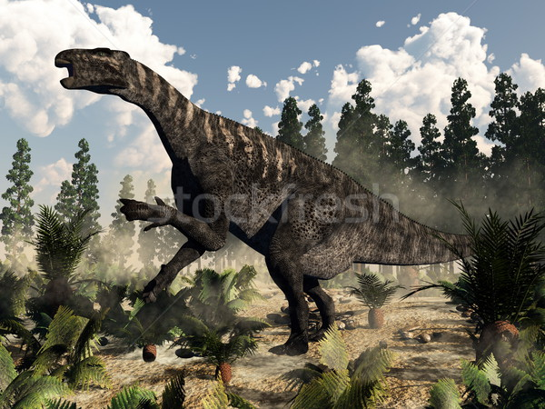 Iguanodon roaring - 3D render Stock photo © Elenarts