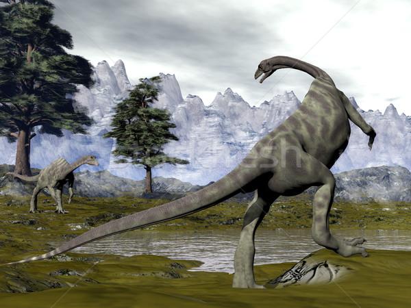 Динозавры 3d визуализации два соснового деревья болото Сток-фото © Elenarts