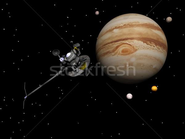 Voyager spacecraft near Jupiter and its satellites - 3D render Stock photo © Elenarts