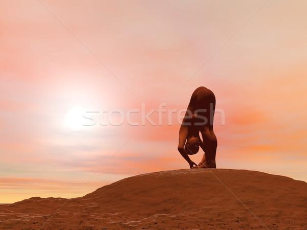 Groot teen pose 3d render jonge vrouw oefenen Stockfoto © Elenarts