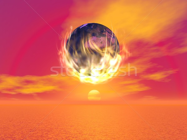 Burning earth - 3D render Stock photo © Elenarts