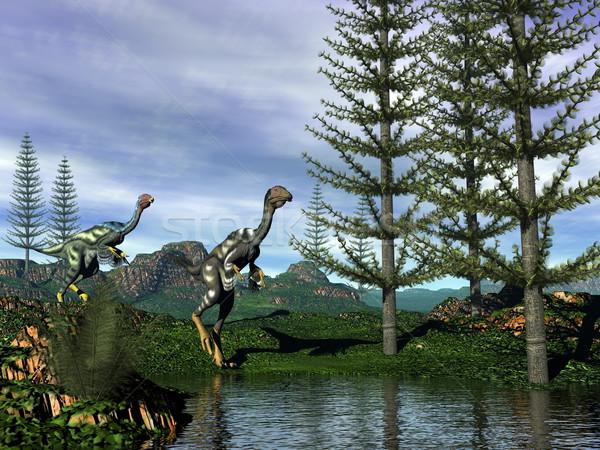 Caudipteryx dinosaurs - 3D render Stock photo © Elenarts