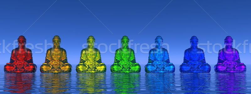 Chakra 3d siete pequeño colores meditando Foto stock © Elenarts