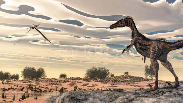 Velociraptor dinosaur - 3D render Stock photo © Elenarts