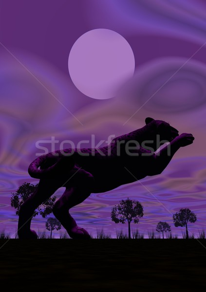 Panther jumping by night Stock photo © Elenarts