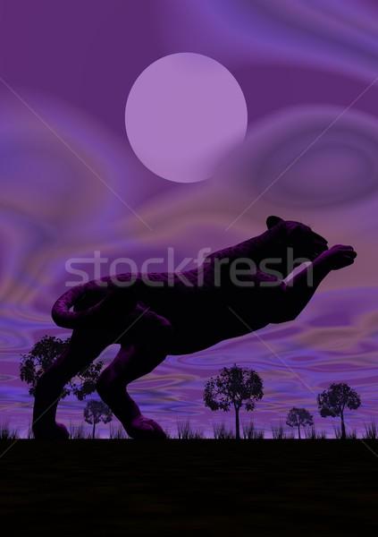 Panther прыжки ночь тень один полнолуние Сток-фото © Elenarts