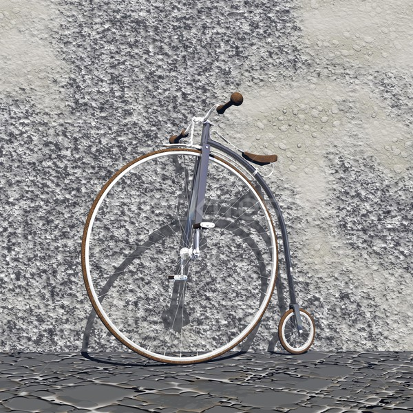 Foto stock: Vintage · bicicleta · 3d · render · belo · velho · cinza