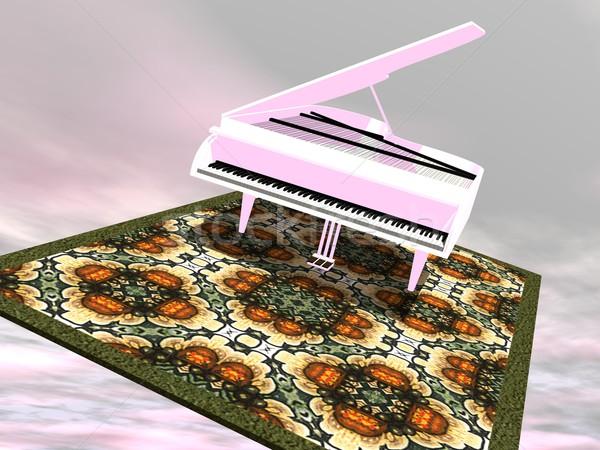 Piano flying on a carpet - 3D render Stock photo © Elenarts