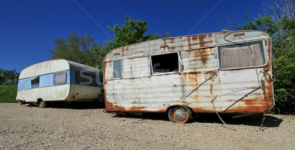 Dusty abandonned old caravans Stock photo © Elenarts