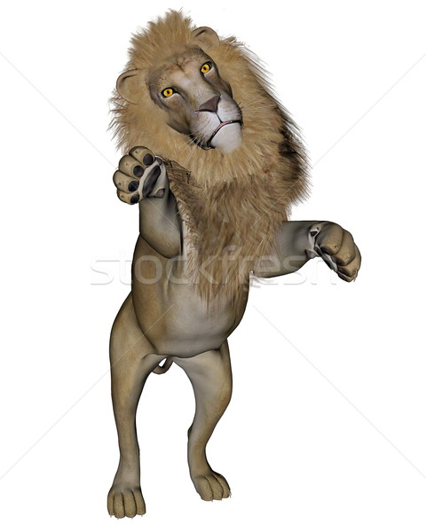Lion jumping - 3D render Stock photo © Elenarts