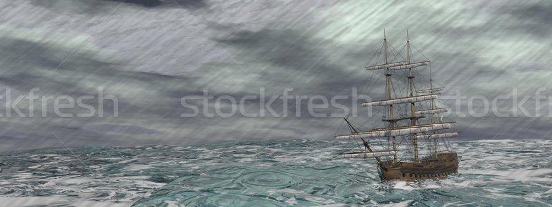 Eski gemi fırtına 3d render kayıp Stok fotoğraf © Elenarts