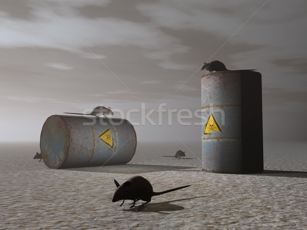 Toxic barrels - 3D render Stock photo © Elenarts