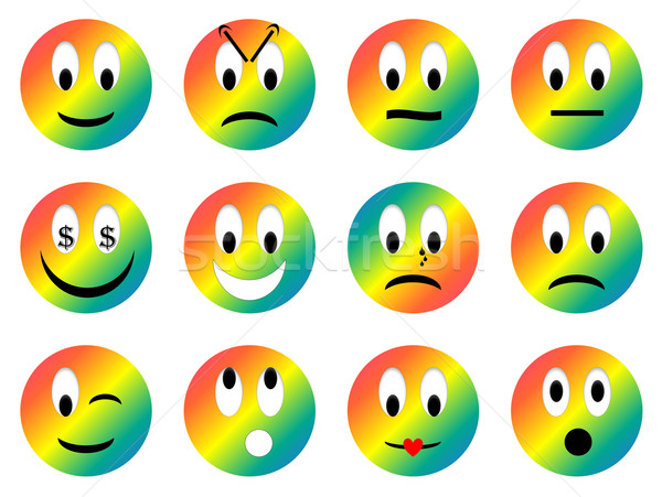 Ingesteld 3d render regenboog verschillend emoties Stockfoto © Elenarts