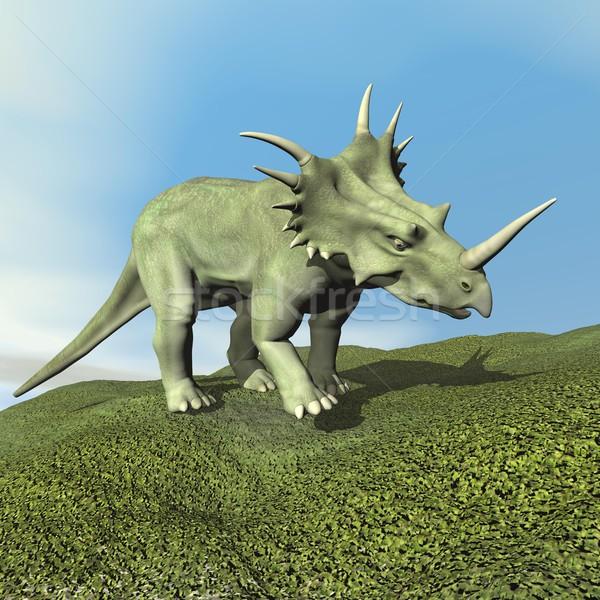 Stock photo: Styracosaurus dinosaur - 3D render