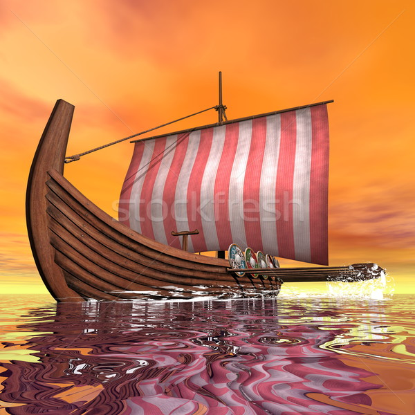 Drakkar or viking ship - 3D render Stock photo © Elenarts