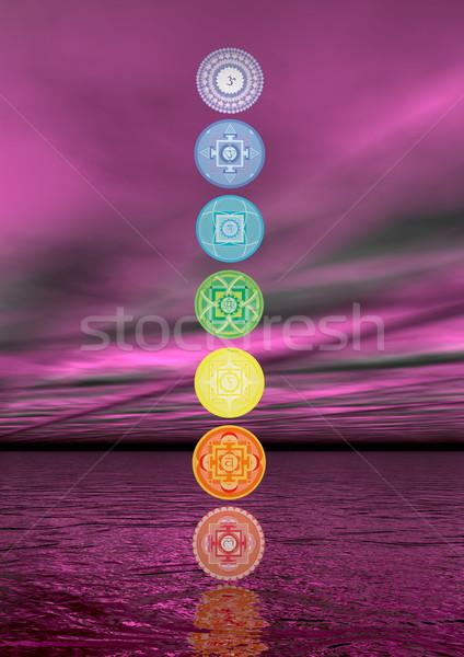 Seven chakra symbols column - 3D render Stock photo © Elenarts