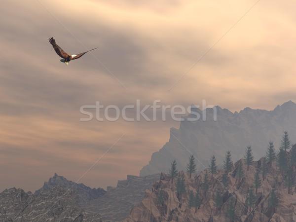 Sas hegy 3d render repülés kövek fenyő Stock fotó © Elenarts