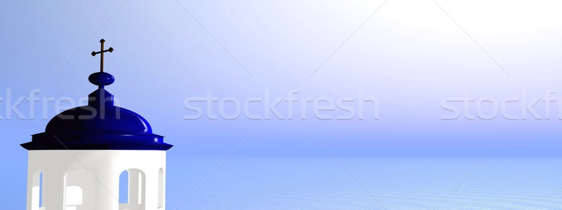 Griego iglesia 3d típico blanco cielo azul Foto stock © Elenarts